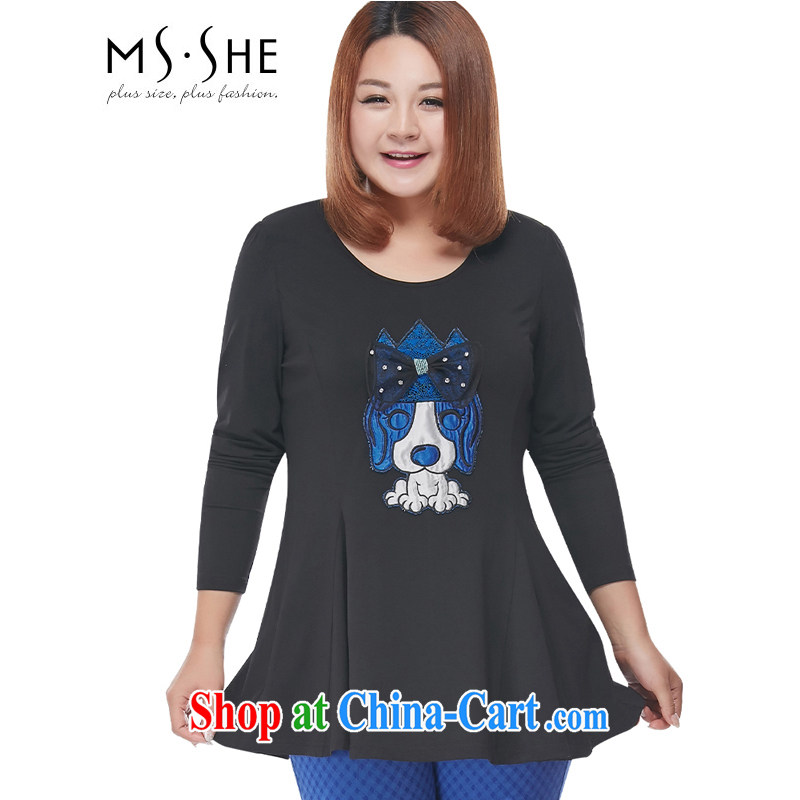 MSSHE XL ladies' 2015 spring A with embroidery long-sleeved round neck cotton knit T shirts clearance 2798 black 4XL