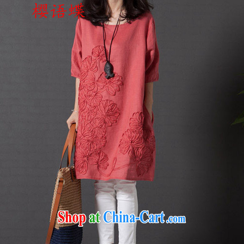 Cherry, Butterfly Spring 2015 the new dress code the female arts, small fresh loose thick MM embroidered short sleeves cotton Ma dresses orange XXL