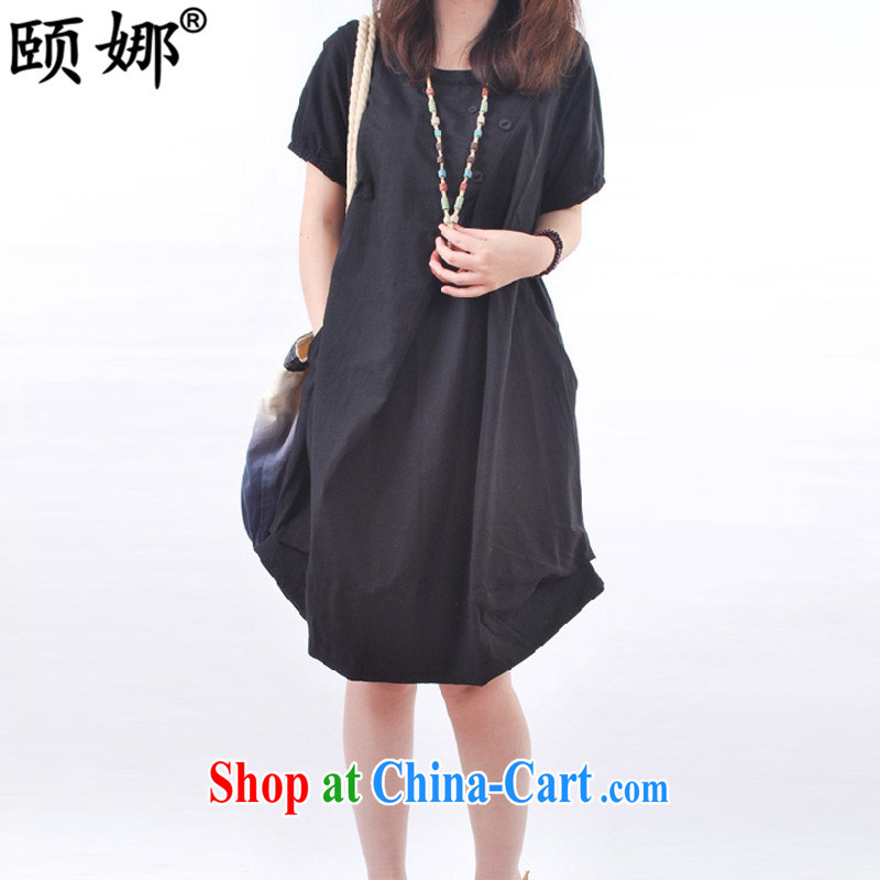 We, summer 2015 new Korean version the code female very casual wrinkled round-collar short-sleeve dress girls Y 8033 black XXL _through 150 jack_