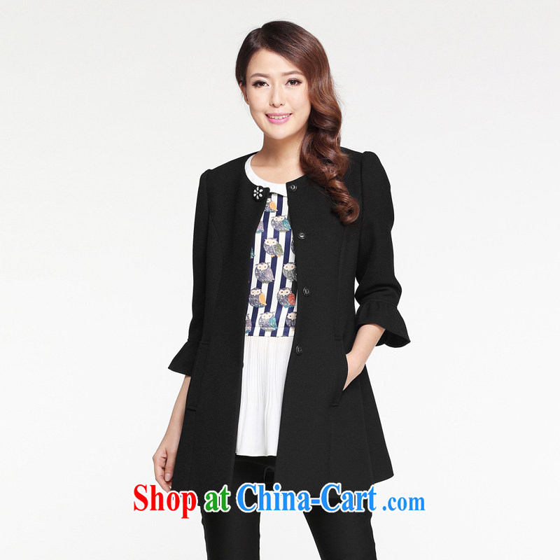 Cloud the larger female 2015 spring new Korean casual jacket thick MM horn 7 cuff video thin T-shirt black by default Shun Feng express