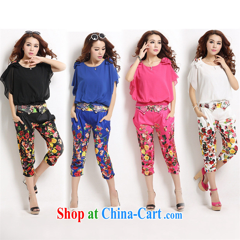 Qin Qing store 2015 new female summer stylish package stamp snow woven two-piece pants T-shirt + Harlan pants X 298 4 code 4-Color large spot XL