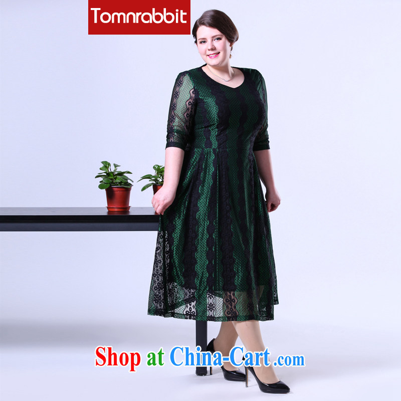 2015 spring new products in Europe and the Code female lace Tile Vertical Streaks mm thick graphics thin double-yi long skirt picture color the code 4 XL