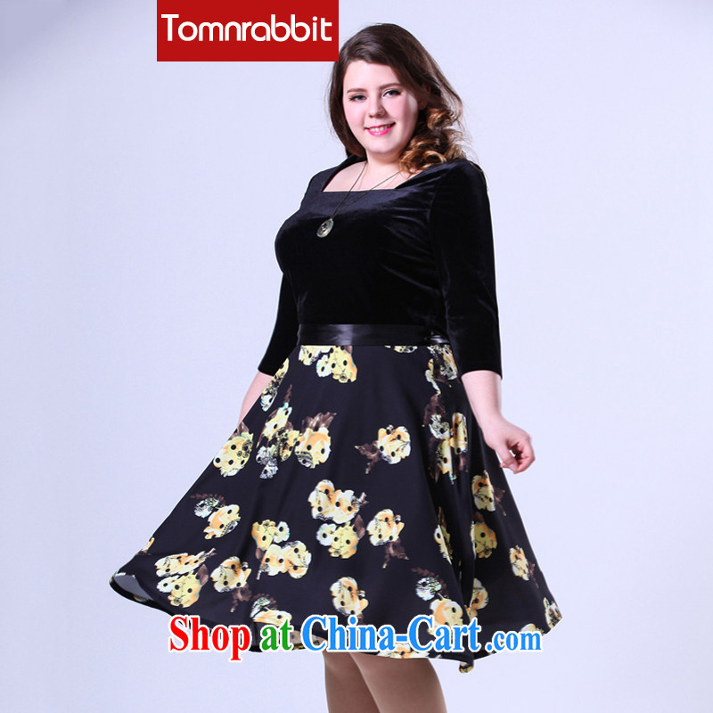 2015 spring female new thick sister graphics thin and long skirt, wool stitching party for the code dress picture color the code XL