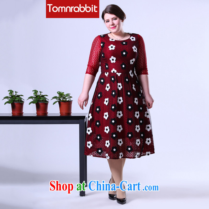 Spring 2015 thick sister graphics thin larger female new languages, three-dimensional embroidered dresses lace long skirt picture color the code 5 XL