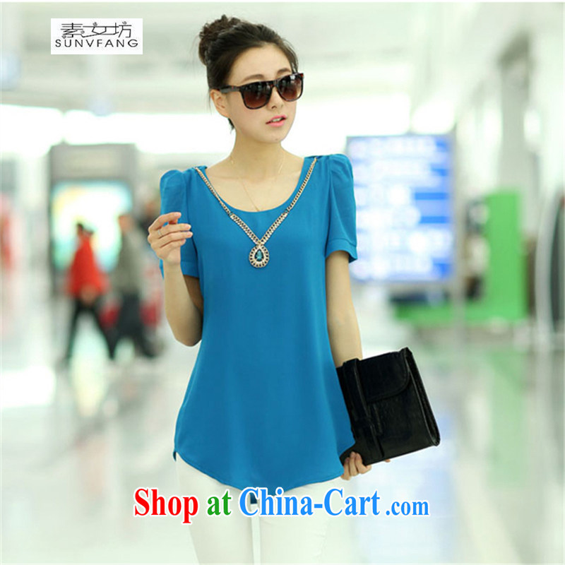 Pixel girl workshop 2015 new Korean female candy solid color double snow woven shirt short-sleeved T-shirt loose video thin T-shirt 5108 _red or blue XXL