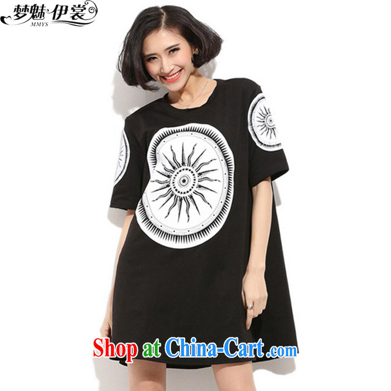 Director of the Advisory Committee 2015 spring and summer with new, and indeed increase, female fat mm video thin, long, short-sleeved T shirt-skirt black loose all code brassieres tile 110