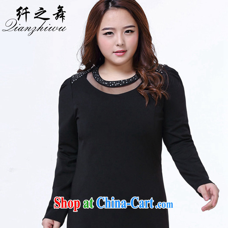 One of the dance, women's clothing 2015 new thick mm parquet drilling long-sleeved beauty style dress 1028 black XXL