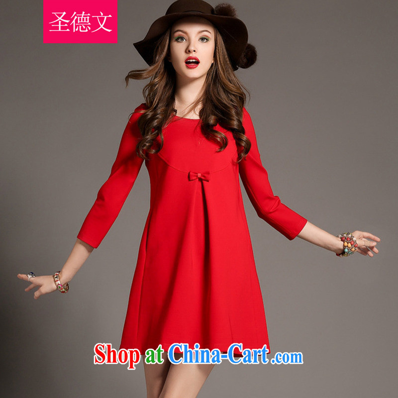 The German 2015 spring new female loose the Code women mm thick aura lace, long stitching solid long-sleeved dresses red S