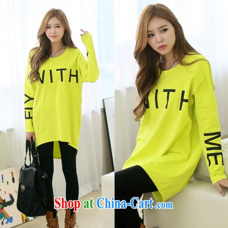 2015 spring new larger female long-sleeved T-shirt girl, long, solid T-shirt Han version loose T-shirt 6198 black L