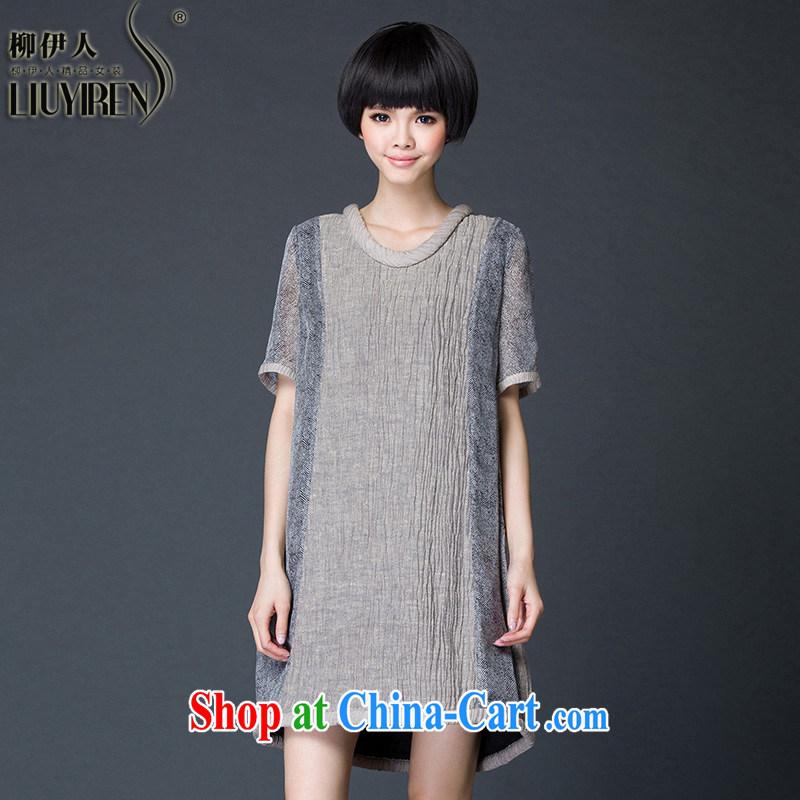 Yoo, the Code women 2015 Korean version of the new, summer shirt T female summer short-sleeved long loose linen summer T-shirt girl gray XL