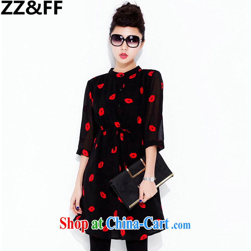 ZZ &FF 2015 summer new 200 Jack mm thick larger female red lips 7 cuff dress beauty graphics thin solid skirt red lips XXXL