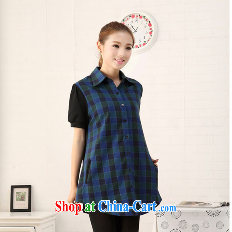 Jade Yi Shu fat sister 2014 summer is indeed the XL 200 Jack female checkered shirt short-sleeved loose fitting shirt blue 5 XL