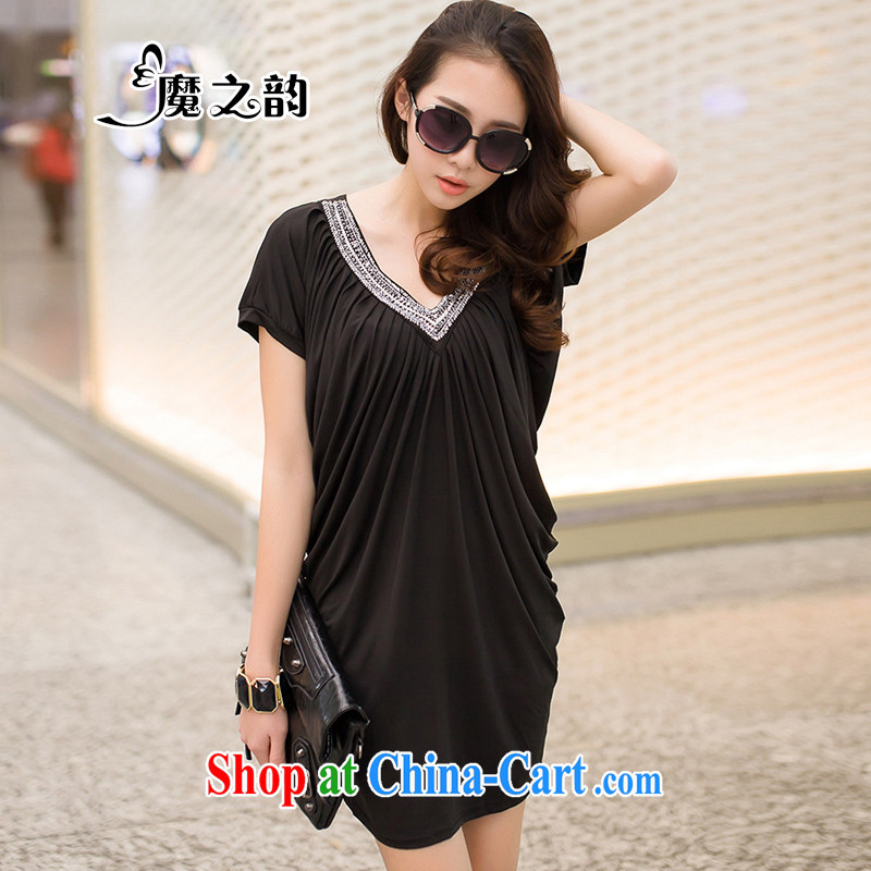 Magic of the new, larger female Big V collar graphics thin Big stylish wrinkled, V collar women dress D 8 2307 black L _120 - 170 _ jack
