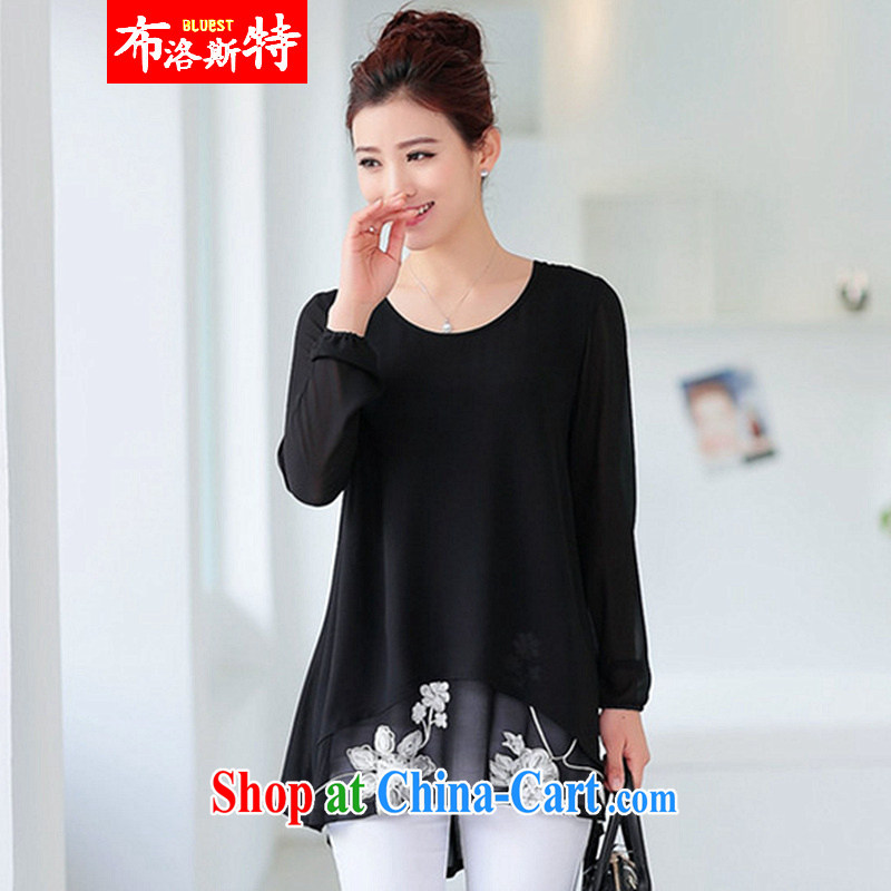 The AD 2015 new spring and summer with the Code long-sleeved clothes loose snow woven shirts stylish short sleeved T-shirt small solid Ms. Netherlands 1508 _black XXL