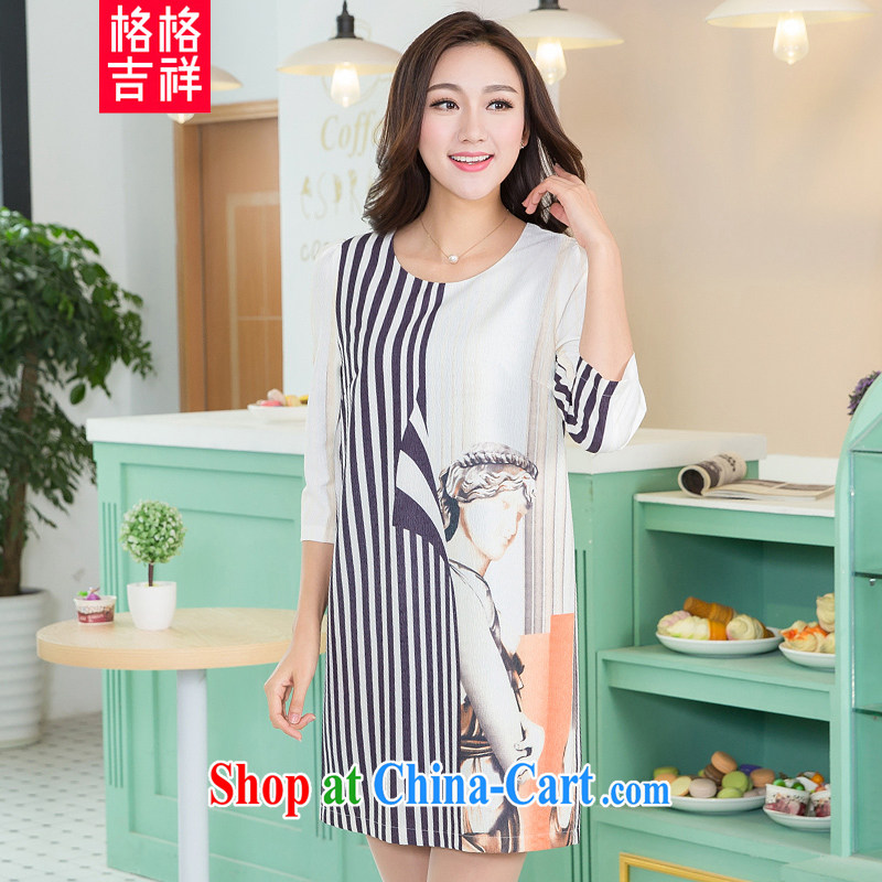Huan Zhu Ge Ge Ge 2015 spring new Korean version XL female fat people graphics thin, long stylish stripes stamp 7 cuff dress V 5108 white 4XL _180 - 200 Jack through_
