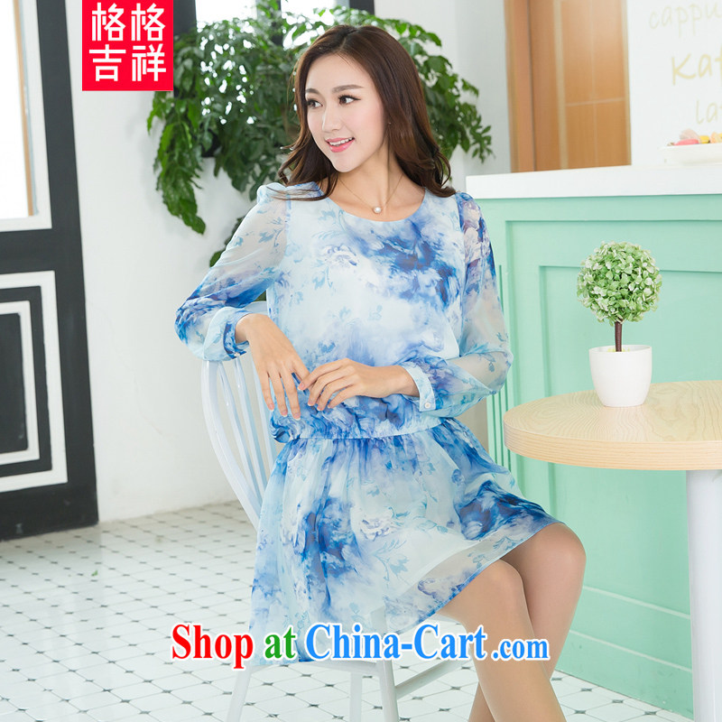 Huan Zhu Ge Ge Ge 2015 spring and summer new, larger women on waves, the waist graphics thin high-quality emulation, snow-woven stamp long-sleeved dresses V 5118 blue 4 XL (180 - 200 Jack through)