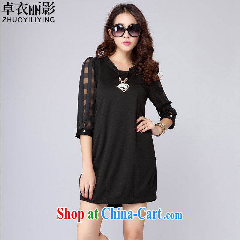 Cheuk-yan yi li video spring 2015 new sleek stitching the root by 7 sub-sleeved loose video thin large code female dresses lantern skirt SD 2006 classic black 4XL
