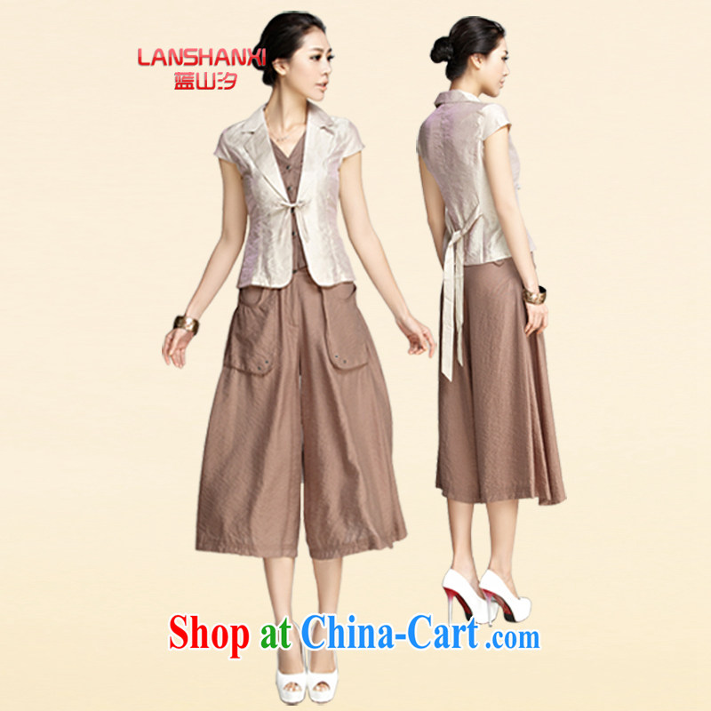 Blue Mountains _LANSHANXI_ 2015 new kit female summer Korean fashion beauty two package dress pants leisure the code sets the color 4 XL