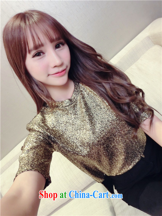 Spring 2015 new female Korean personality cool leisure cultivating metal sense, short-sleeve shirt T 7016 gold are code
