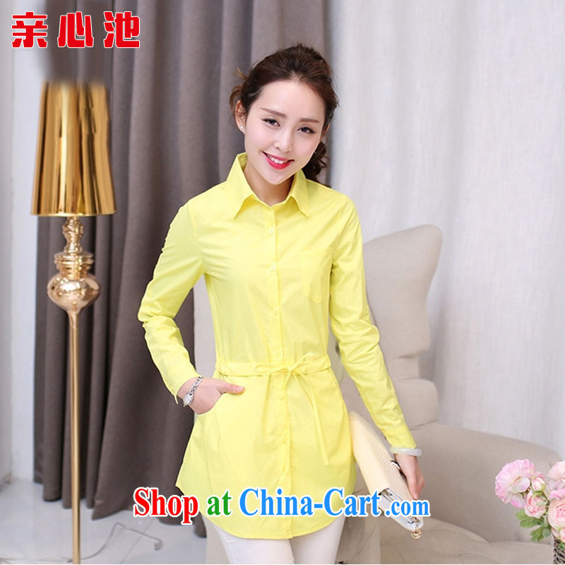 Pro-heart pool 2015 spring new shirt larger women, long shirt graphics thin candy-colored shirts and fashionable 100 ground T-shirt jacket I 003 yellow XXL