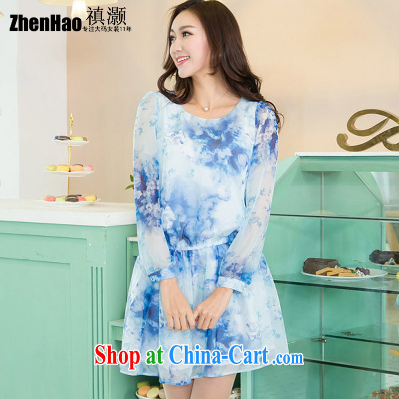 绂� collective counters and 2015 spring and summer new, larger female thick mm sister Korean video thin female round-collar long-sleeved noble emulation, stamp snow woven dresses blue stamp 3XL