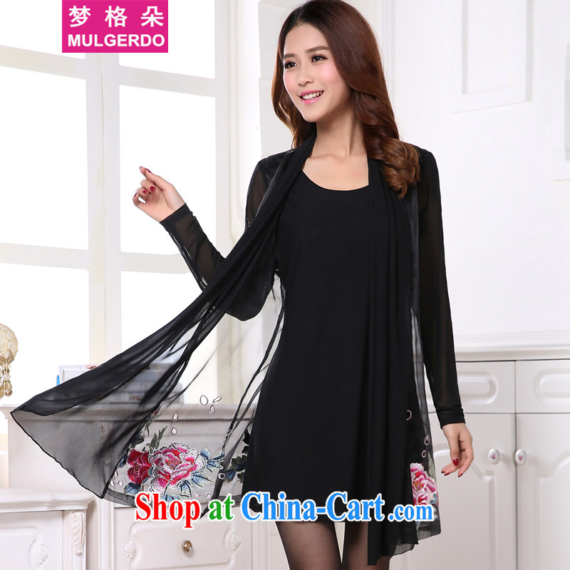 Let the Flower Spring 2015 new products, women thick MM graphics thin embroidered shawl collar long-sleeved thick people dress s 8007 black 2 XL