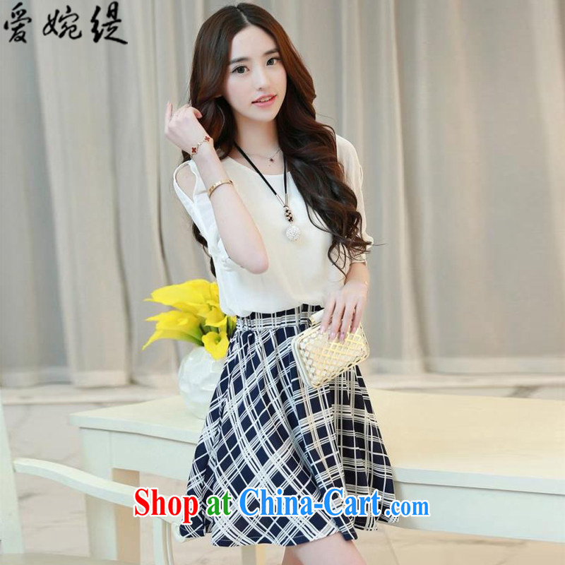 Love Yuen long summer 2015 new female grid stitching leave two snow-woven dresses A 11,128 blue grid L