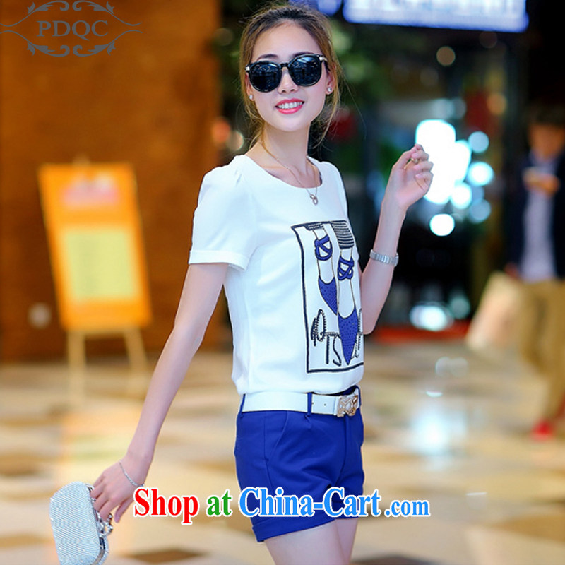 PDQC European site 2015 summer leisure package short-sleeved T shirts shorts small Hong Kong culture quality two-piece women blue XL, PDQC, shopping on the Internet