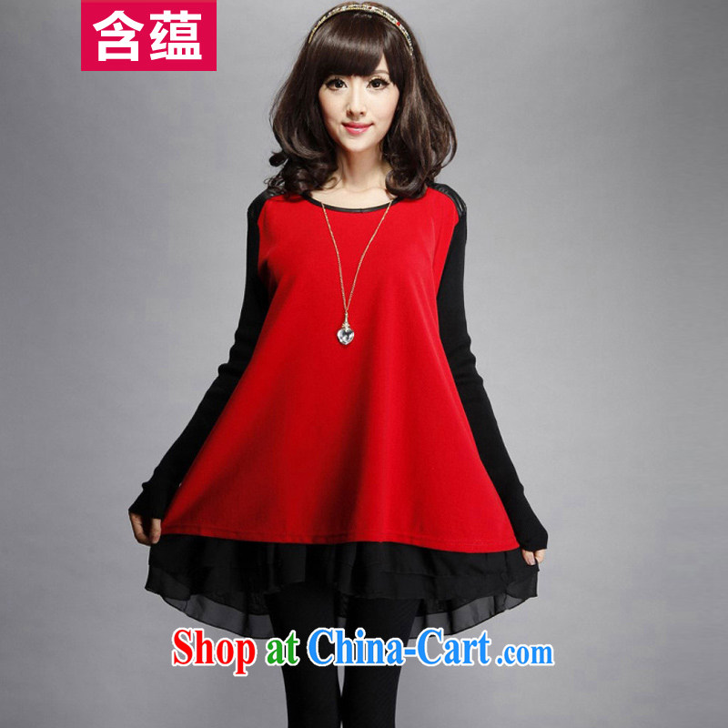 A test-ban 2015 spring and summer new Korean dresses PU leather stitching the code and indeed graphics thin solid skirt loose skirt red XXXL