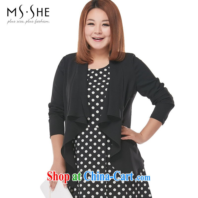 MSSHE XL ladies' 2015 new spring comfortable flouncing long-sleeved snow woven jacket cardigan 2826 black 4XL