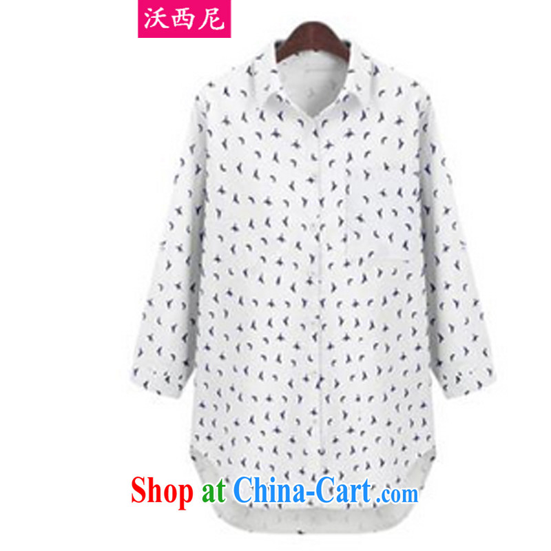 The Code women mm thick load fall 2014 thick sister birds pattern stamp beauty graphics thin, long, large, shirts _the Code pre-sale_ light blue blue XL