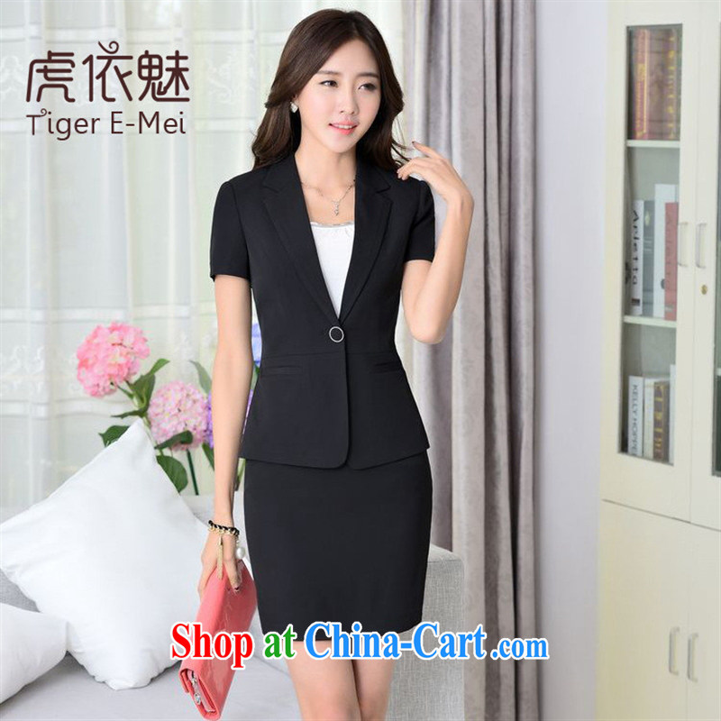 September 2015 fashion spring new women package dress upscale OL suit Female package black short-sleeved suits + package skirt XXXL