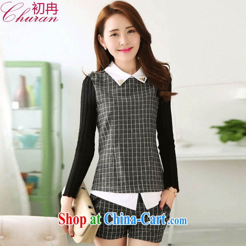 More early 2015 spring and summer dress tartan shirt and stylish lounge package long-sleeved shorts two piece W 8000 _dark gray XXL