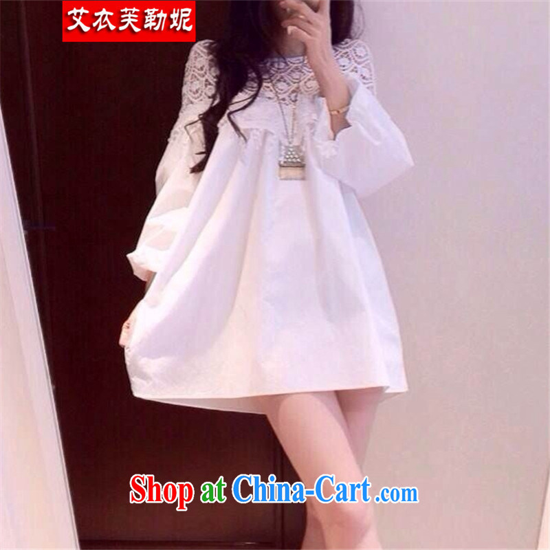 The Yi would be Connie, summer 2015 new loose the code female and indeed intensify edition white dresses lace stitching 100 ground graphics thin skirt 9927 white XXXL 170 - 210 jack