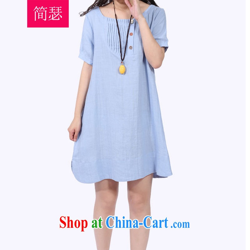 In short Joseph 2015 spring new female long-sleeved dresses Korean version the Code women mm thick very casual, long, solid dress female blue S