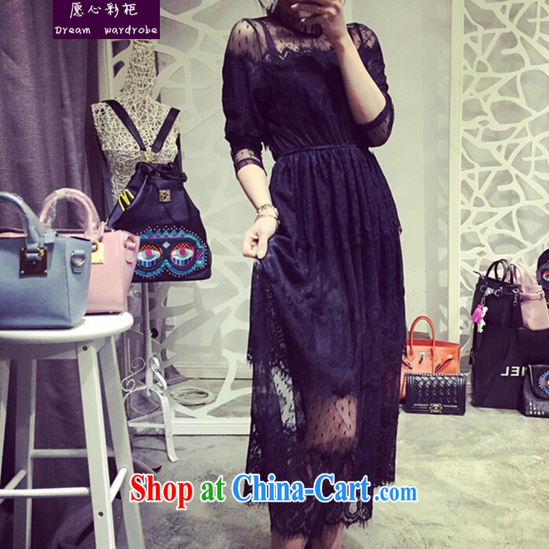 would like to heart Color cabinet 2015 spring and summer, the female fat sister lace skirt and the fat beauty, for graphics thin solid lace dress black XXXXL