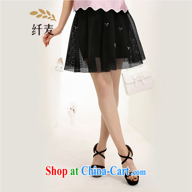 The Mak is the adolescent girls with 2015 summer new thick mm stylish Openwork pin Pearl Body Short skirt 652252026 black 2 XL