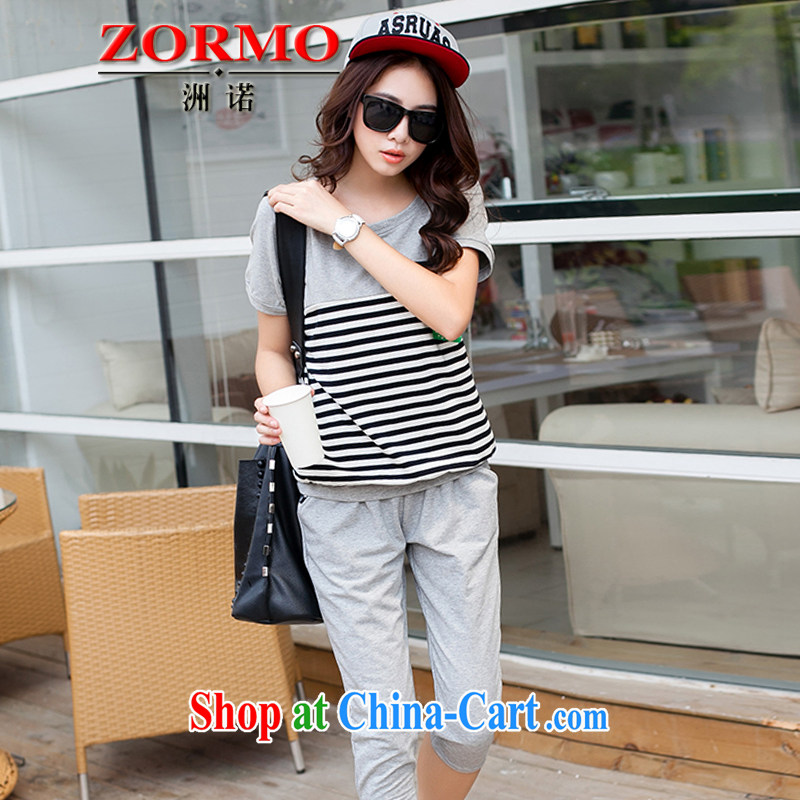 ZORMO Korean girl with thick mm maximum code Leisure package stripes short-sleeve T-shirt + cotton pants in 2 piece Sport Kits gray XXXL