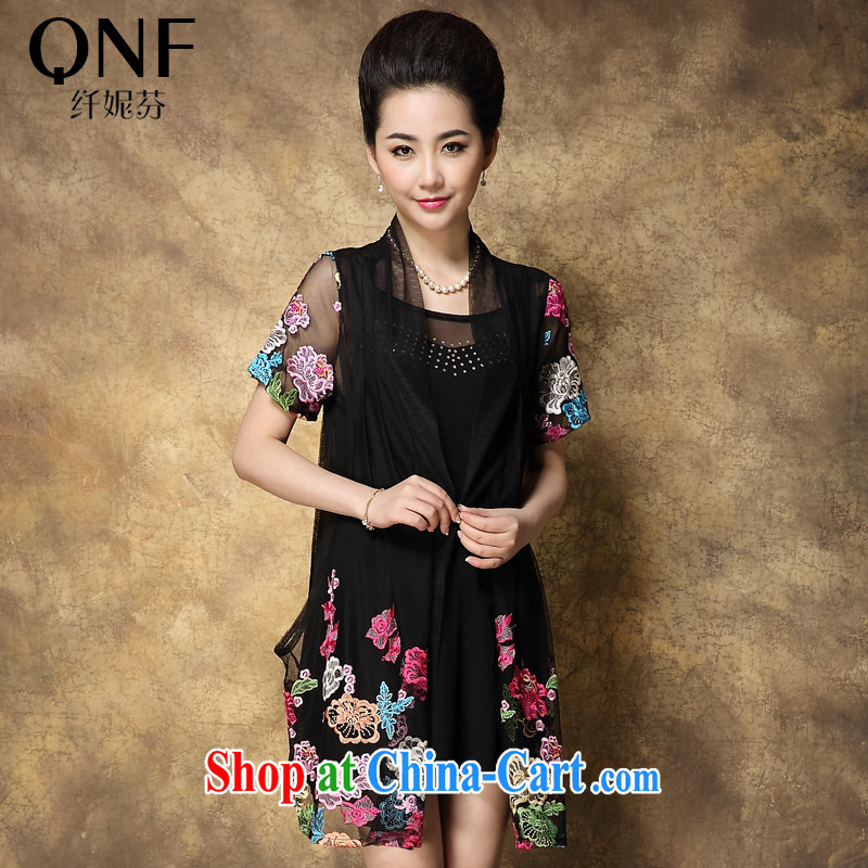 The Connie, 2015 new, larger female summer mm thick dress graphics thin, older web yarn embroidered dresses picture color 4 XL