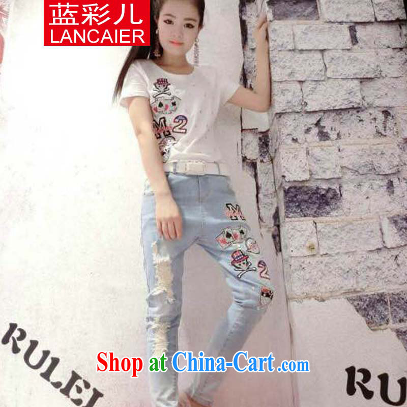 Blue colored Children's European site spring and summer with new stylish to manually staple drill poker T-shirt + jeans Kit white S