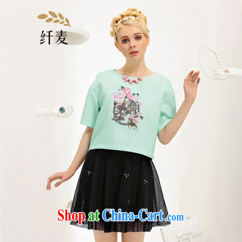 The Mak is the adolescent girls with 2015 summer new thick mm stylish stamp loose short-sleeved T-shirt 652362083 mint green 3 XL