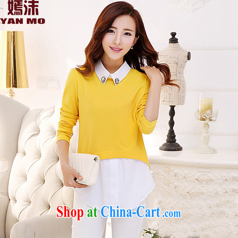 He droplets spring 2015 New Section 100 a relaxed solid T-shirt large code t-shirt girl Y 5112 yellow XXXL