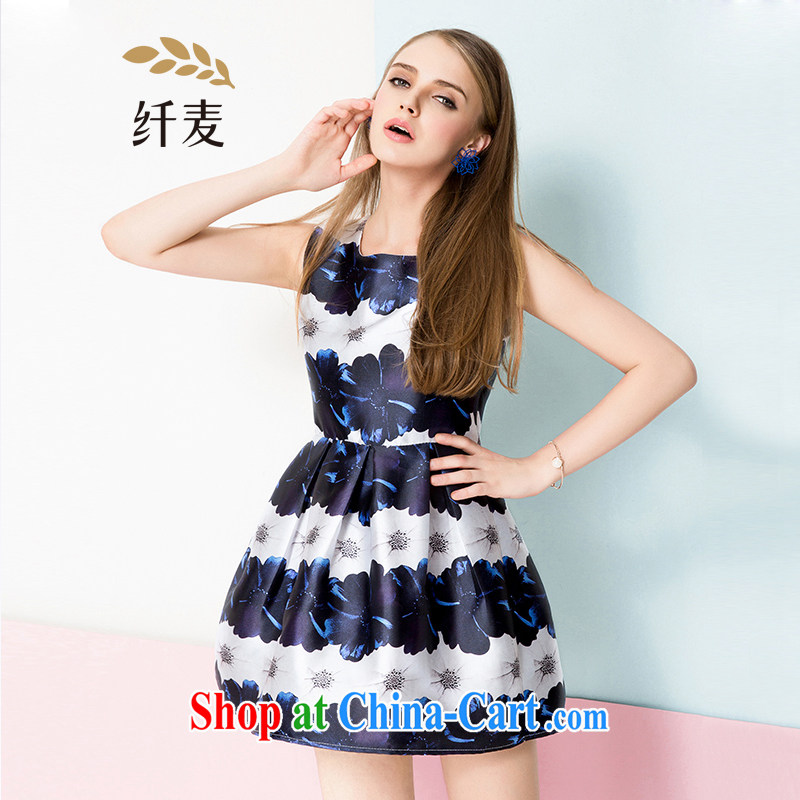 The Mak is the girls with 2015 spring new thick mm beauty stamp vest dresses girls 651104010 blue 3 XL