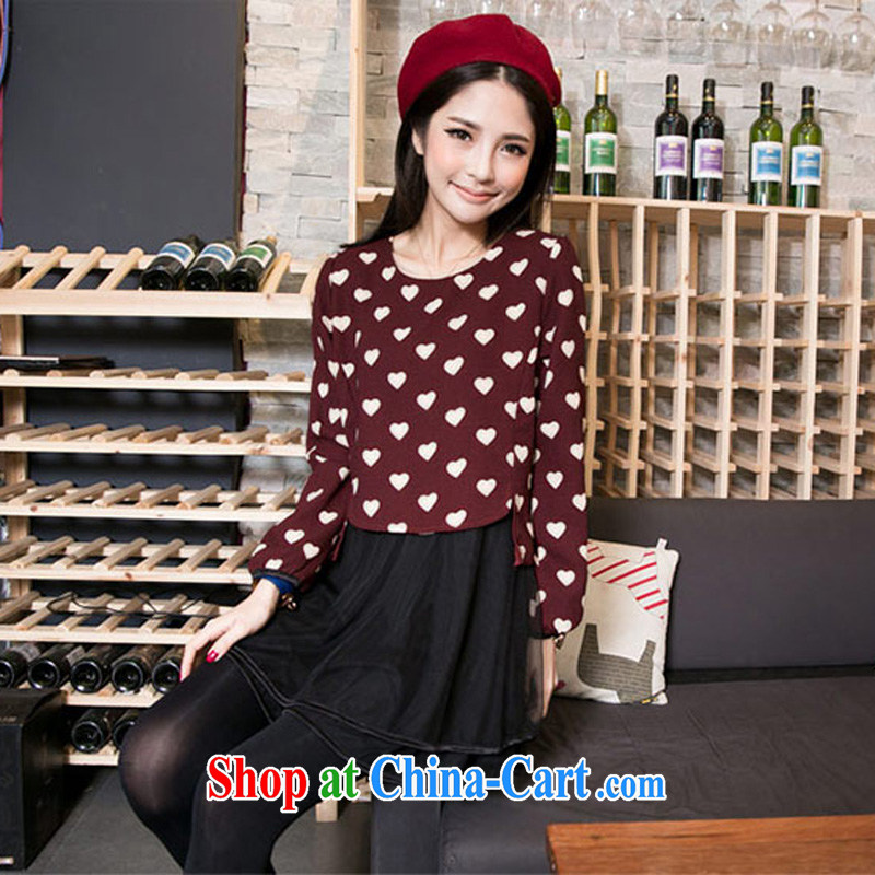 2015 new, larger female spring 200 Jack thick sister graphics thin and thick and Korean leave of two in love, dresses girls thick mm autumn sun poverty maroon 4 XL _recommended weight 190 - 220_