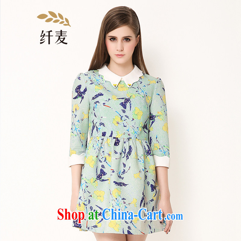 The Mak is the girls with 2015 spring new thick mm flower 7 cuff dress girls 651101017 mint green 4 XL