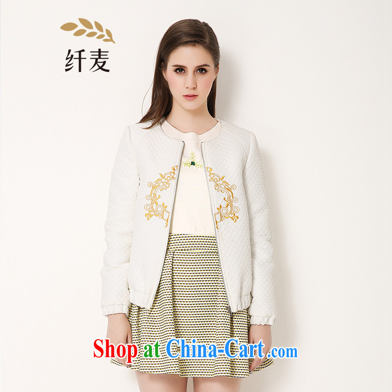 The Mak larger girls with 2015 spring new thick mm video thin embroidered long-sleeved jacket girls 651047001 white 4XL