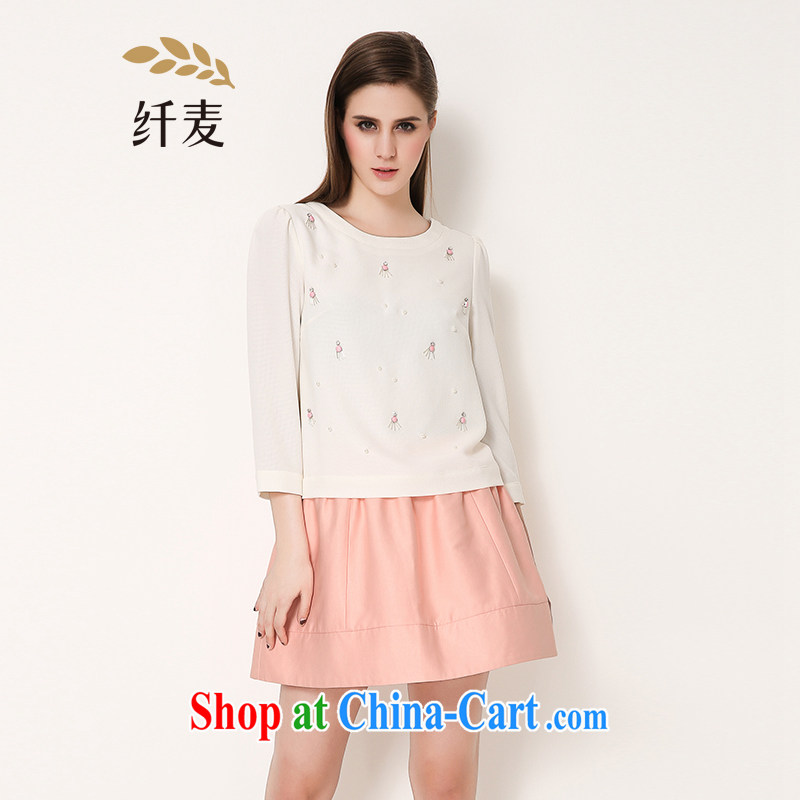 The Mak larger girls with 2015 spring new thick mm Korean loose video thin nail Pearl shirt 651365016 white 4XL