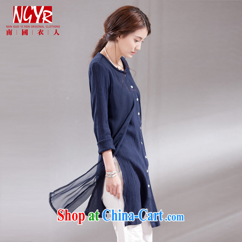 Xiao Nan Guo Yi People sponsors the code units the female spell Joe the yarn, long, long-sleeved T-shirt graphics thin - 2-Color dark blue L _chest of CM 98 _