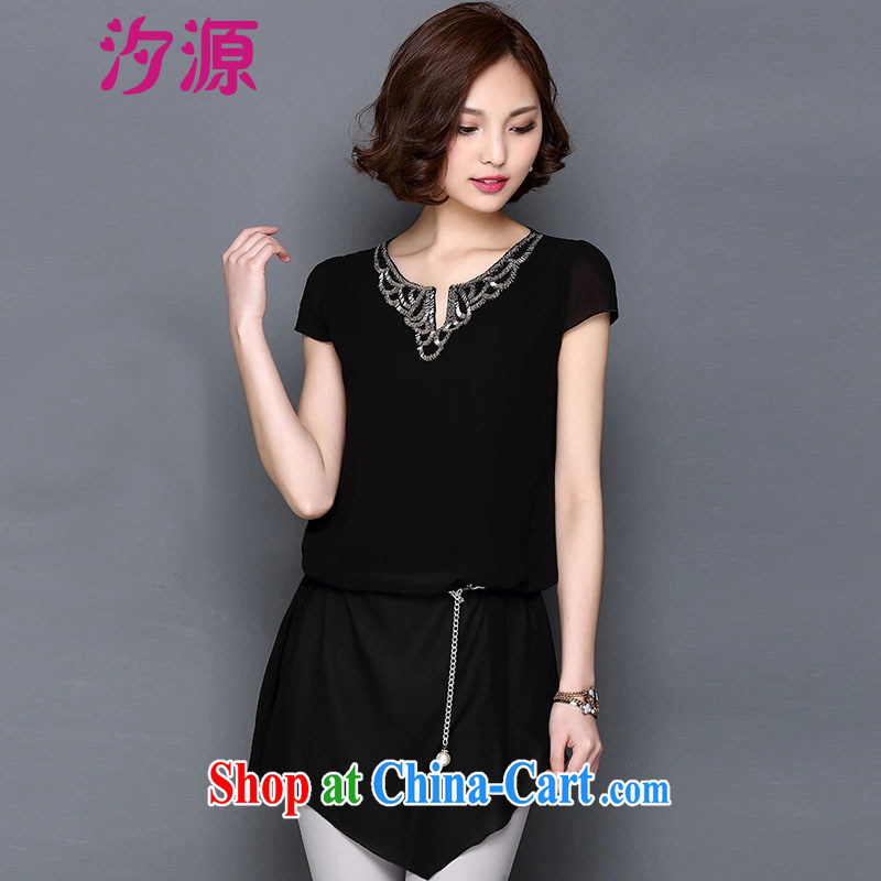 Hsichih source 2015 spring and summer with new, larger female minimalist 100 in a long, snow-woven short sleeve shirt T female noble black XXXL