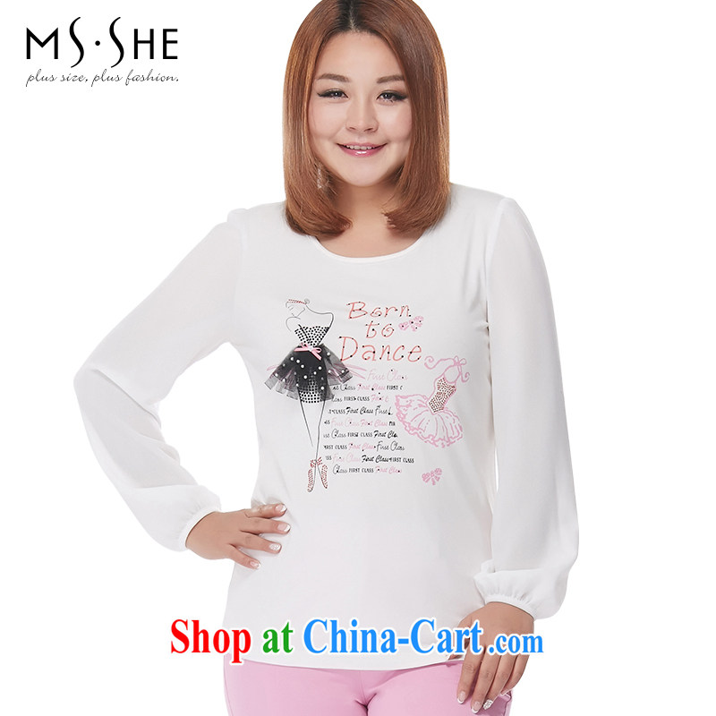 MSSHE XL women 2015 spring snow stamp duty woven stretch cotton long-sleeved round-collar T pension 2668 white 5 XL